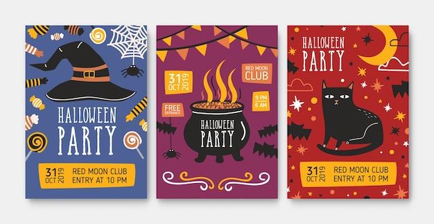 Zestaw szablonów zaproszenia na przyjęcie halloween lub plakatów z kapeluszem czarownicy, garnkiem z miksturą i złym czarnym kotem