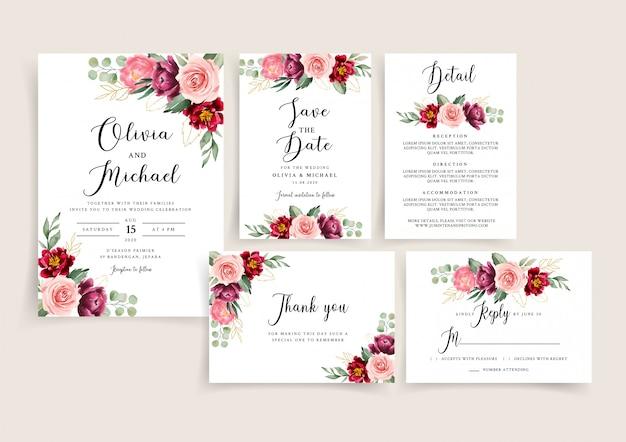 Zestaw szablonów zaproszenia ślubne bordowy i rumieniec