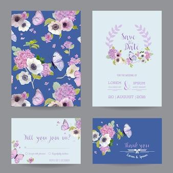 Zestaw szablonów zaproszenia ślubne. karta botaniczna z kwiatami hortensji i motylami. powitanie pocztówka kwiatowa