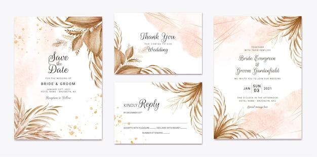 Zestaw szablonów zaproszenia ślubne. koncepcja projektu karty botanicznej