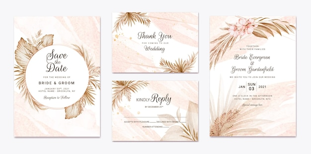Zestaw szablonów zaproszenia ślubne kwiatowy. koncepcja projektu karty botanicznej