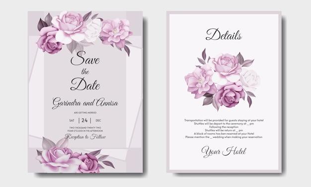 Zestaw szablonów zaproszenia ślubne piękne ramki kwiatowy