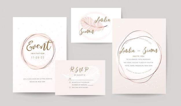 Zestaw szablonów zaproszenia ślubne.