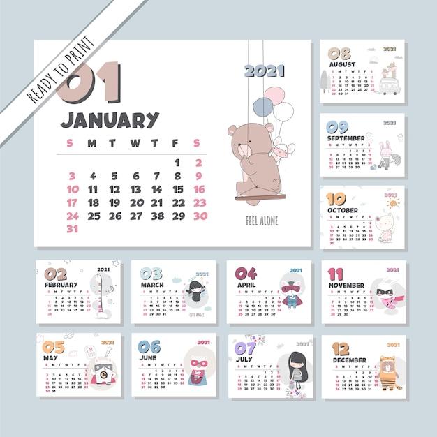 Zestaw szablonów zwierząt ładny kalendarz 2021