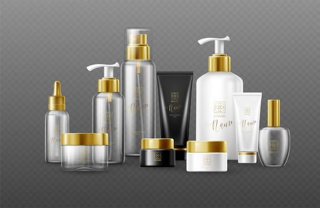 Zestaw szablonu białe, czarne i szklane butelki kosmetyczne ze złotymi nakrętkami na białym tle na ciemnym tle. prawdziwy efekt przezroczystości.