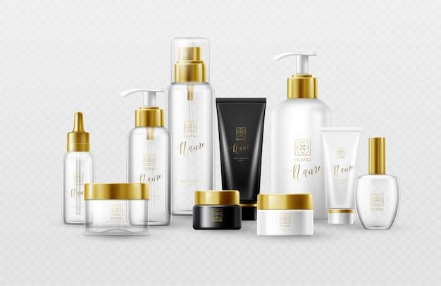 Zestaw szablonu białe, czarne i szklane butelki kosmetyczne ze złotymi nakrętkami na białym tle. prawdziwy efekt przezroczystości.