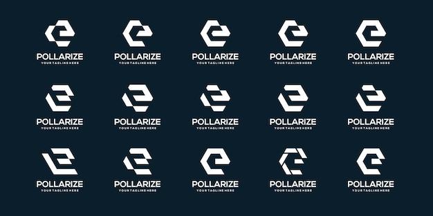 Zestaw szablonu biznesowego logo litera e