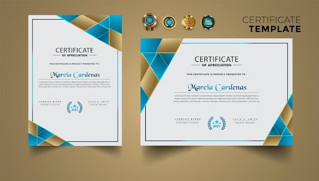 Zestaw szablonu certyfikatu ze złotym luksusowym nowoczesnym wzornictwem