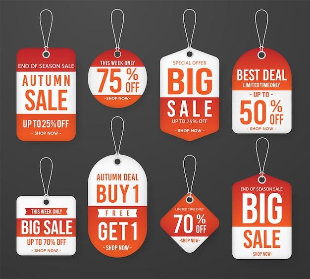 Zestaw szablonu etykiety cenowej jesień sprzedaż cena