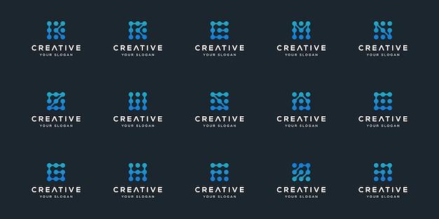 Zestaw szablonu inspiracji pakiet logo technologii cyfrowej kolekcji