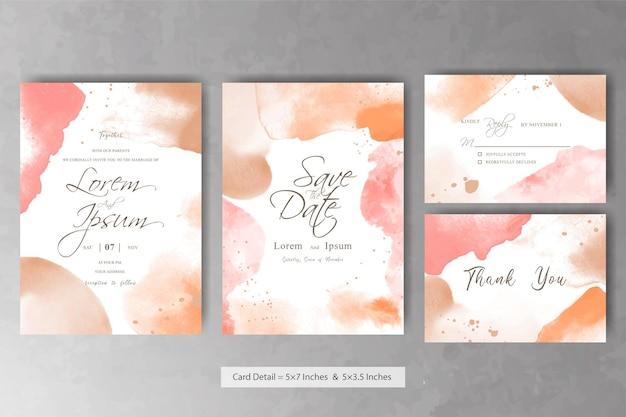 Zestaw szablonu karty abstrakcyjnego zaproszenia ślubnego z płynnym malowaniem artystycznym