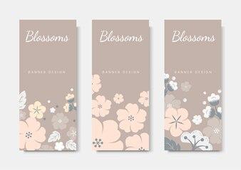 Zestaw szablonu karty kolorowy kwiat