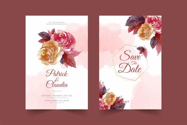 Zestaw szablonu karty kwiatowy wesele zaproszenie z róży kwiat i liście premium wektor