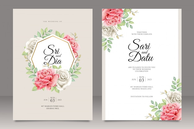 Zestaw szablonu karty ślub z uniwersalnym ramki kwiatowy