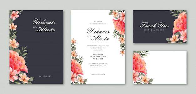 Zestaw szablonu karty ślubu z pięknym kwiatowy