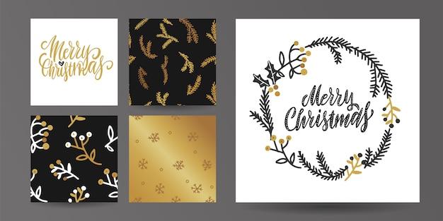 Zestaw szablonu karty wesołych świąt i szczęśliwego nowego roku.