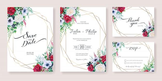 Zestaw szablonu karty zaproszenia ślubne. zimowy kwiat, styl akwareli.