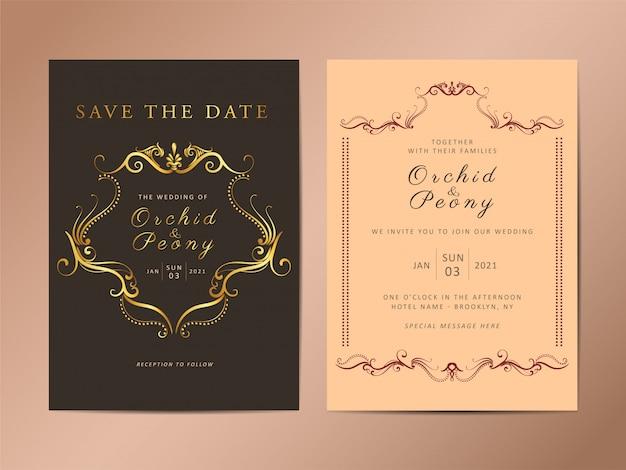 Zestaw szablonu karty zaproszenia wesele