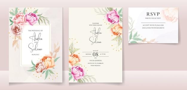 Zestaw szablonu karty zaproszenie na ślub akwarela z pięknymi liśćmi i kwiatem