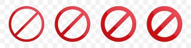 Zestaw szablonu koła zakazu o różnej grubości