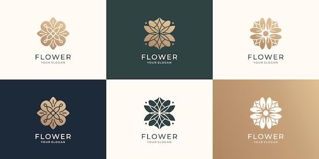 Zestaw szablonu logo abstrakcyjnego kwiatu luksusowa kolekcja lotosu różanego wektor premium