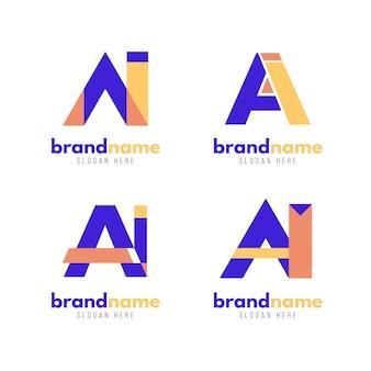 Zestaw szablonu logo ai płaska konstrukcja