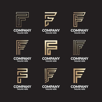 Zestaw szablonu logo creative monogram litery f.
