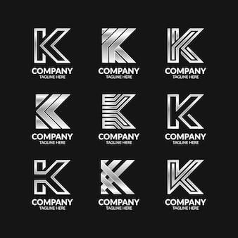 Zestaw szablonu logo creative monogram litery k.