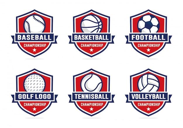 Zestaw szablonu logo drużyny sportowe