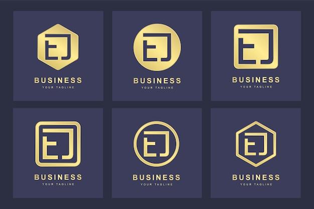 Zestaw szablonu logo ej streszczenie pierwsza litera ej.