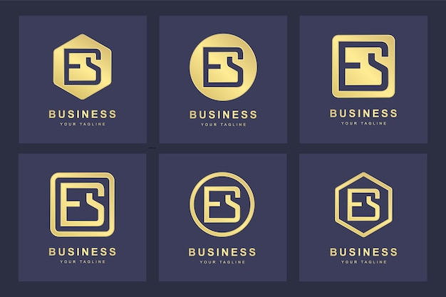 Zestaw szablonu logo es es streszczenie pierwsza litera.