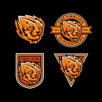 Zestaw szablonu logo esport ognia lew