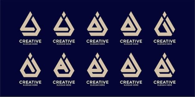 Zestaw szablonu logo kreatywnego listu
