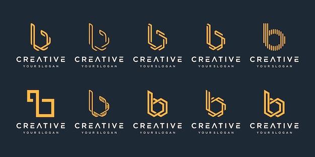 Zestaw szablonu logo kreatywnych monogram litera b. logo może służyć do budowania firmy.