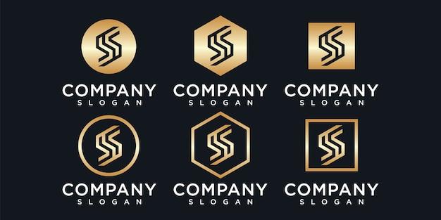 Zestaw szablonu logo kreatywnych monogram litery s