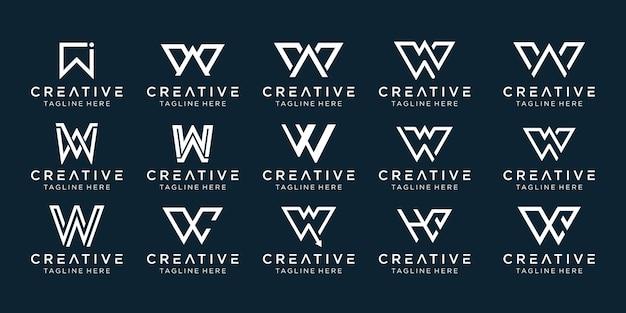 Zestaw szablonu logo kreatywnych monogram litery w.