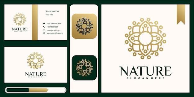 Zestaw szablonu logo kwiat z wizytówką
