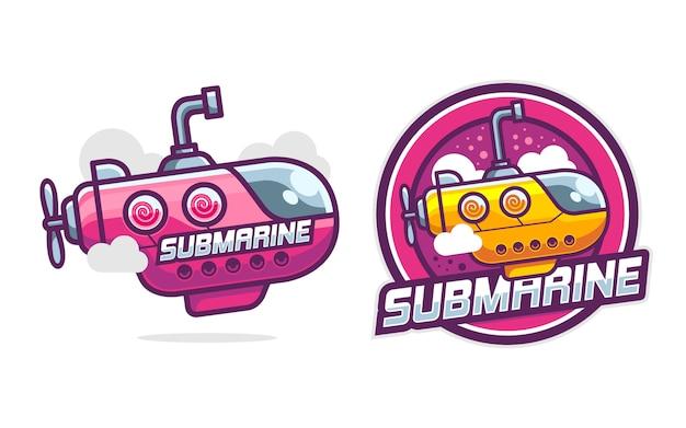 Zestaw szablonu logo ładny okręt podwodny
