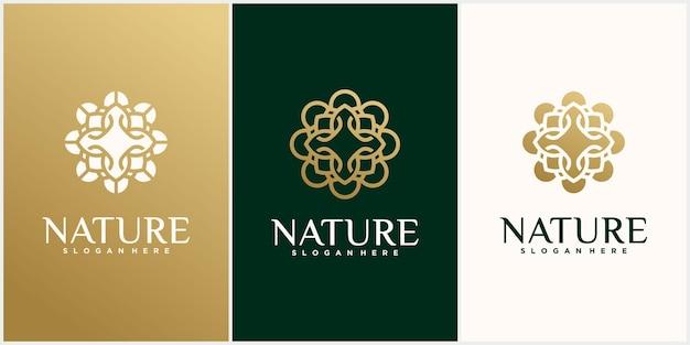 Zestaw szablonu logo liść kwiat