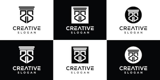 Zestaw szablonu logo list monogram