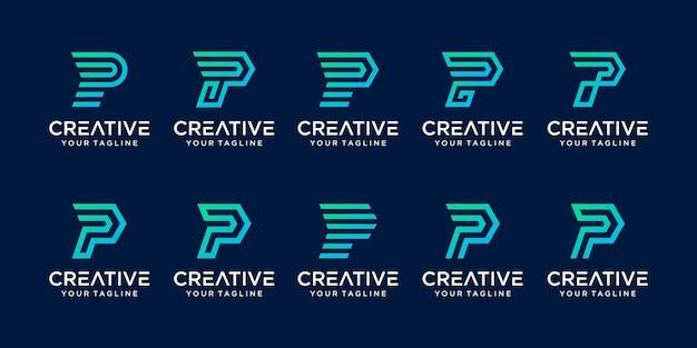 Zestaw Szablonu Logo Litera P. Premium Wektorów