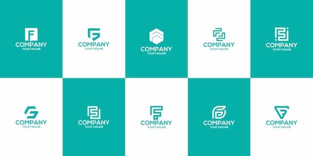 Zestaw szablonu logo litery f premium wektor monogram