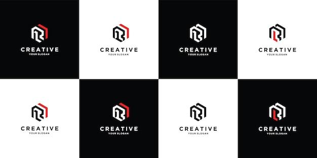 Zestaw szablonu logo litery r rr premium wektorów