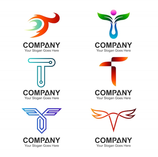 Zestaw szablonu logo litery t.