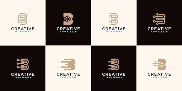 Zestaw szablonu logo monogram litera b