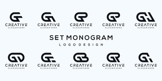 Zestaw szablonu logo monogram litera g.