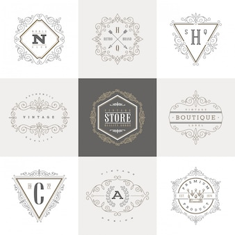 Zestaw szablonu logo monogram z elementami kaligraficzny elegancki ornament kwitnie.