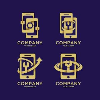 Zestaw szablonu logo naprawy telefonu komórkowego