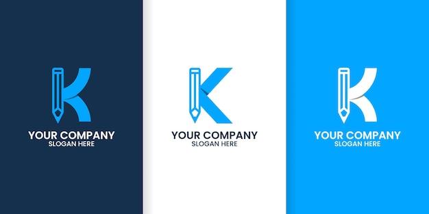 Zestaw szablonu logo ołówka litery k