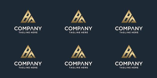 Zestaw szablonu logo pierwsza litera ba.
